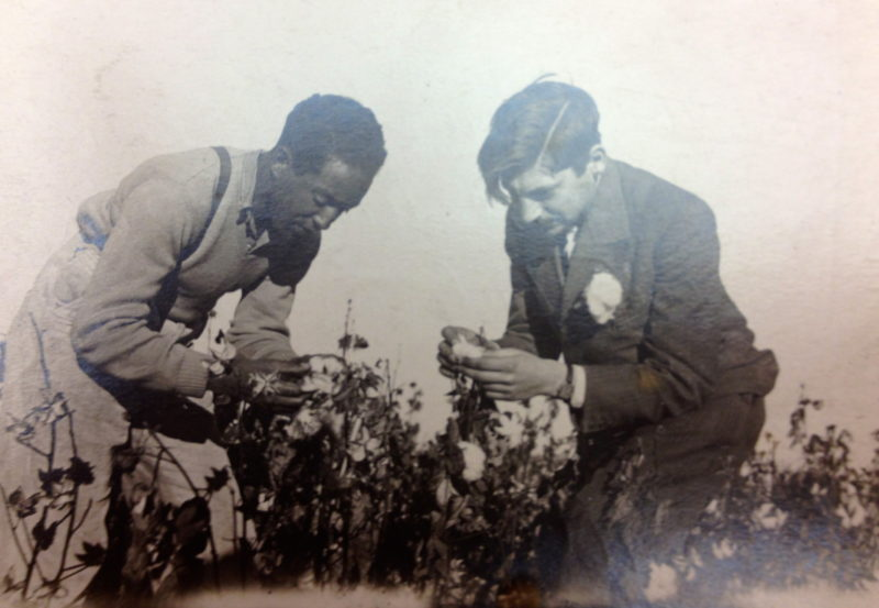 Langston Hughes and Arthur Koestler at a cotton collective in Uzbekistan.